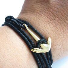 Anchor Wrist Band Black Maritime Surfer Wrap-Around Bracelet Multilayer