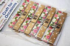 8 Mr & Mrs Vintage Patterned Pegs Wedding Scrapbook Craft