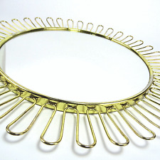 vintage Brass Wire Wall Mirror Mid-Century Josef Frank & Hagenauer Era 1950s