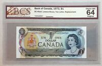 1973 Bank of Canada $1 Replacement Note *GU 3126907 BCS UNC-64 Original BC-46aA