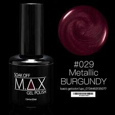 MAX 15ml Soak Off Gel Polonais Nail Art UV LED Couleur #029 - Metallic Burgundy