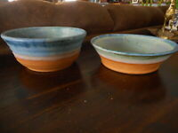 """2 Studio Pottery Blue Bowls Unmarked Artist Gradual Color Handcrafted 7.5 & 8"""" d"""