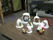 7 Vintage China Christmas Bells 1983 1984 Candle Wreath Tree 2 Hallmark, & More