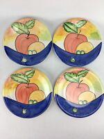 "Bella Ceramica Alfresco 9"" Salad Luncheon Plates Pear Grapes Fruit Set of 4"