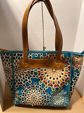 Fossil Multicolor Floral Turquoise Background Canvas Leather Trim Shopper Tote