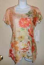 Jane Ashley Casual Life Style Short Sleeve Embellished Top Peach Small (S) NWT