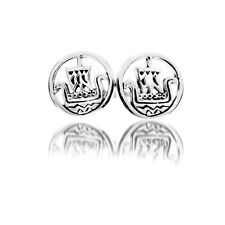 Viking Ship Earrings Silver Stud Solid Sterling Silver Studs