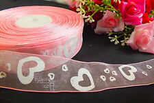 5M PINK ORGANZA WHITE HEART 25mm RIBBON WEDDING CRAFT CAKE PARTY GIFT SEWING