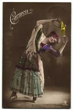 CARMEN opera girl with tambourine photo postcard 1910's