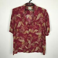 M.E. Sport Hawaiian Shirt Mens Size 2XL Red Floral Rayon Short Sleeve Button Up