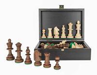 "Tournament Staunton Chess Pieces in Wooden Black Box - 3.5"" King"