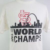 ST LOUIS CARDINALS 11 TIME WORLD CHAMPS SKYLINE WHITE BASEBALL T SHIRT SZ XL
