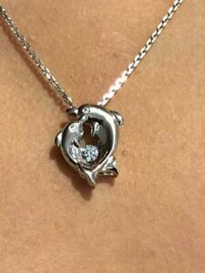 """Platinum Sterling Silver White Sapphire """"Dancing Diamond"""" Dolphin Halo Necklace"""