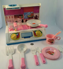 Vintage Toy Pink Double Cook Top with Back Splash Cookware Pink 1970/80 AS IS