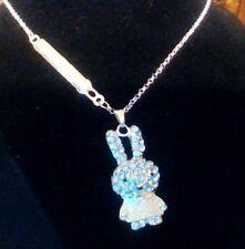 MIFFY Rabbit Bunny Crystal White Enamel Pendant Necklace USA SELLER