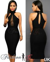 Ladies Women Midi Dress Black Celeb Party Bodycon Evening Pencil Size 12 14 16 L