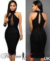 Ladies Women Midi Dress Black Celeb Party Bodycon Evening Pencil Size 12 14 16 L