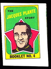 1971-72 TOPPS STORY BOOKLETS #4 JACQUES PLANTE MAPLE LEAFS