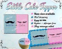 Stashes vs lashes gender reveal Cake topper Edible paper sugar sheet baby shower