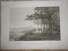 1845 ACQUAFORTE VEDUTA DEI CAMALDOLI EREMO NAPOLI REGNO DELLE DUE SICILIE