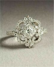 Beautiful vintage art deco style 3.8ct white asscher cut diamond engagement ring