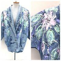 Vintage VTG 1980s 80s Acid Wash Denim Floral Painted Studded Duster Jacket