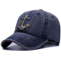 Washed Denim Baseball Cap Embroidered Anchor Mariner Sailor Captain Cap