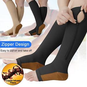 Copper Open Toe Compression Socks Zipper Leg Calf Ankle Support Men Women S-XXL