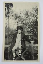Snapshot Photograph Young Girl Sitting on Log Fence Funny Face US Navy Cap 1920s