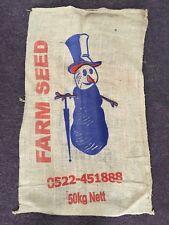 VINTAGE Hessian Potato Sacks x3 - Snowman Brand!