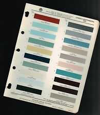 1961 LINCOLN CONTINENTAL Color Chip Paint Sample Brochure / Chart: PPG
