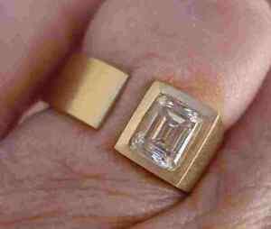 14K YELLOW GOLD OVER SOLITAIRE ENGAGEMENT BEZEL SET RING FOR MEN'S 1.8CT DIAMOND