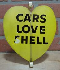 Original Old CARS LOVE SHELL Gas Station Yellow Heart Spinner Advertising Sign
