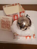 1979 9th Wallace Silverplated Bustling Christmas Village Sleigh Bell Ornament 3""