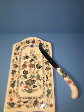 Andrea by Sadek Porcelain Cheese Plate & Knife Set Garden Of India Flowers