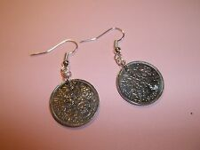 SIXPENCE (TANNER) COIN DROP EAR RINGS,1961 - 56th BIRTHDAY