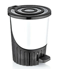 White Pedal Bin 26L Round Dustbin Bathroom Litter Bin Waste Bin Foot Pedal Flip
