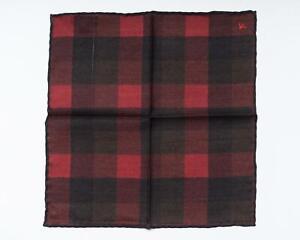 "Isaia Napoli NWT Red Black Check Pocket Square Wool Silk Blend 13"" 33 cm"