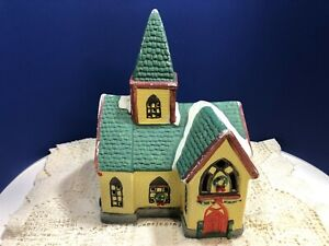 Yellow Brick & Green Roof Hand Painted Porcelain Christmas Church with Steeple