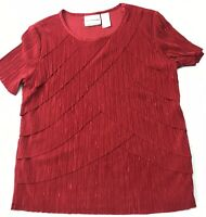 Alfred Dunner Red Scallop Shirt  Blouse Petite PS Dressy