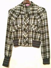 BCBG Max Azria Girls Jacket Black Plaid Silver Sparkle Zip Coat Size 8