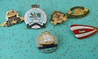 6 Vintage Curling Pins Broom Beaver Stone 1950s Canada Maritimes Pinback