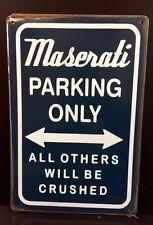 Maserati Parking Metal Sign / Vintage Garage Wall Decor (30 x 20cm)