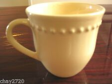 "PRE-OWNED LIGHT YELLOW BEADED CERAMIC COFFE MUG ""EMMA"" PATTERN, Made in Portugal"