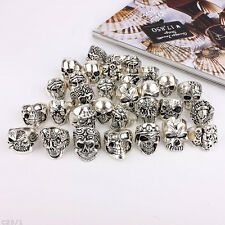 Wholesale Mixed Skull Gold/Silver Men's Rings Jewelry Big Biker Punk Finger Ring
