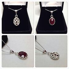 """2 SIDED GENUINE 3ct Ruby & Sterling Silver Pendant Necklace 18"""" NWT Art Jewelry"""