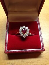 NEW Pear Ruby & Diamond Cluster Ring in size L
