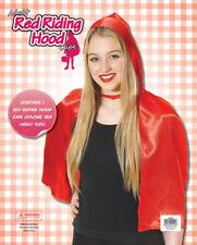 New Short Ladies Soft Little Red Riding Hood Cape & Hood Cloak Fancy Dress Adult