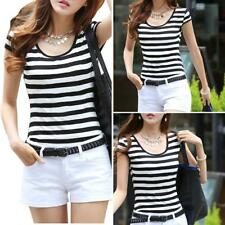 EB_ HK- Women Black And White Striped Slim Fit Bottom T Shirt Cap Sleeve Blouse
