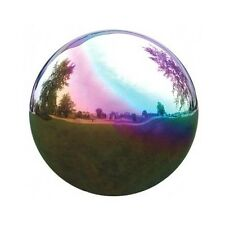 "Rainbow Gazing Globe Stainless Steel 10"" Mirror Ball Lawn Garden Art Yard Decor"